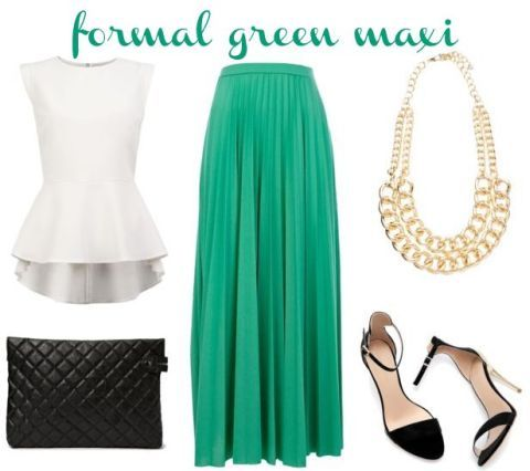 green emerald maxi skirt - formal | Outfits | Pinterest | What's ...