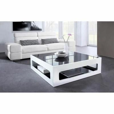 Angel Table Basse Carree Style Contemporain Laquee Blanc Brillant Avec Plateaux En Verre Trempe Noir L 90 X L 90 Cm Table Basse Carree Table Basse Table Basse Blanc Laque