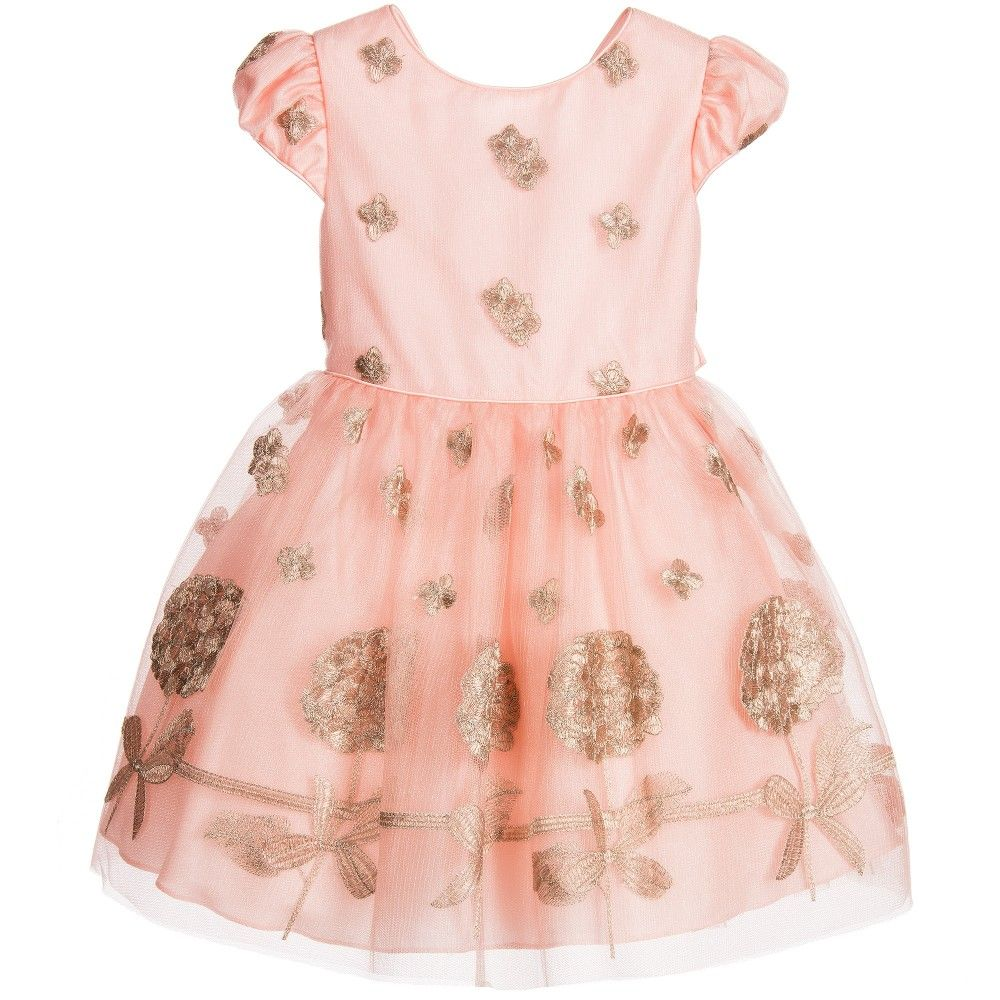 David Charles Pink & Bronze Embroidered Tulle Dress at Childrensalon ...
