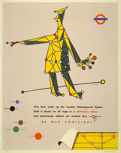 """""""Be Map-Conscious"""", 1945, by Le Witt & Him. The London transport network not only inspired Harry Beck's famous tube map, it has birthed a dazzling array of posters, designs and cartographic artwork for more than 100 years. Now a new exhibition, """"Mind the Map: Inspiring Art, Design and Cartography"""", at the London Transport Museum until 28 October, brings together the museum's most remarkable artworks."""