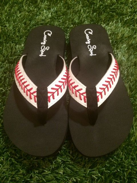 ca06480a132d Cocomo Soul Leather Stitch Baseball Flip Flops Womens