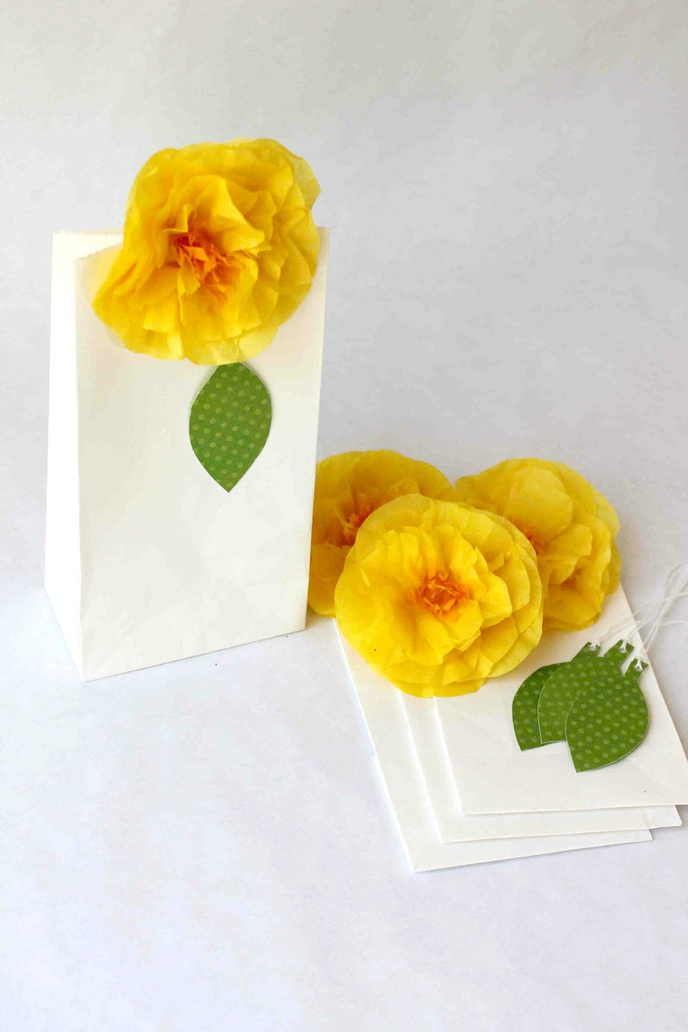 Rose Party Favor Bag with yellow rose with clip and bright green ...