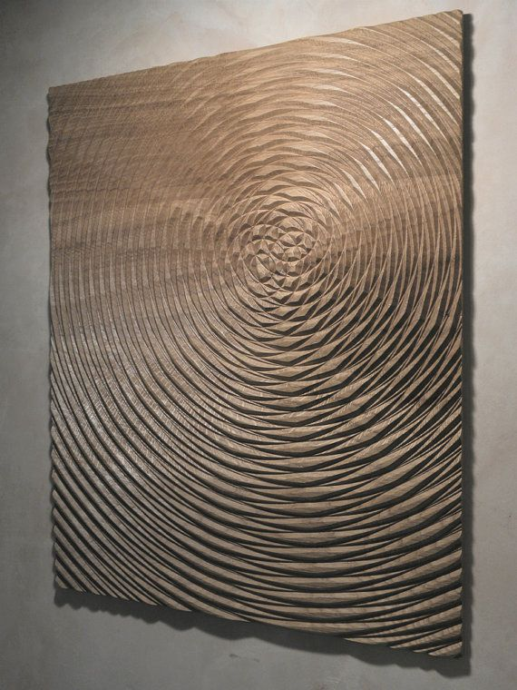 Carved wood contemporary relief sculpture by