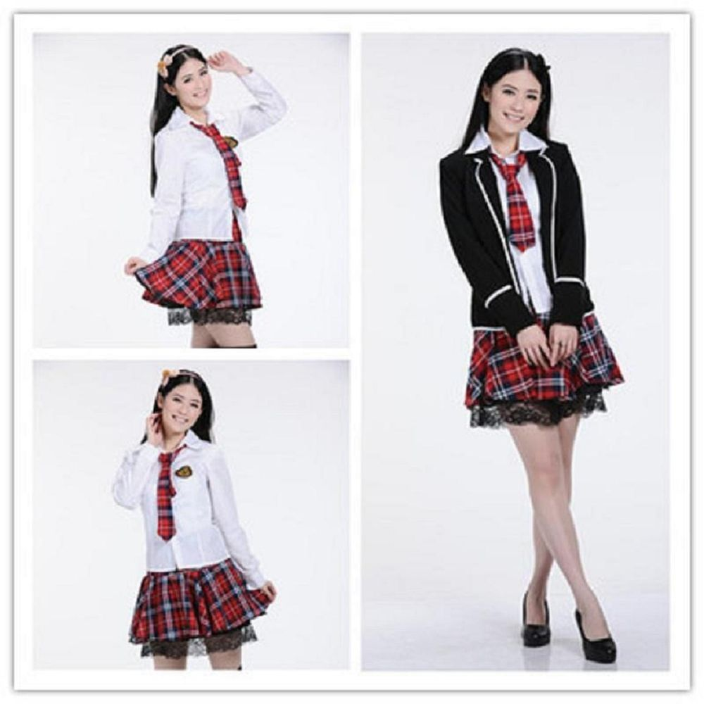 japonaise fille uniforme cosplay costume jupon robe tartan rouge noir robes pinterest. Black Bedroom Furniture Sets. Home Design Ideas