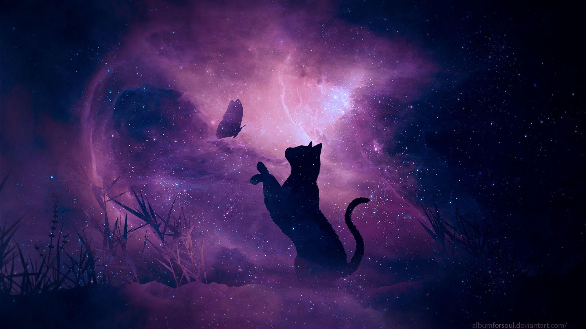 Fantasy Animals Laptop Wallpaper Desktop Wallpapers Purple Aesthetic Black Cat Art