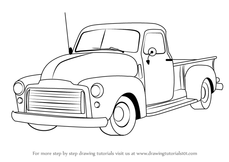 Learn How to Draw a GMC Pickup Truck (Trucks) Step by Step