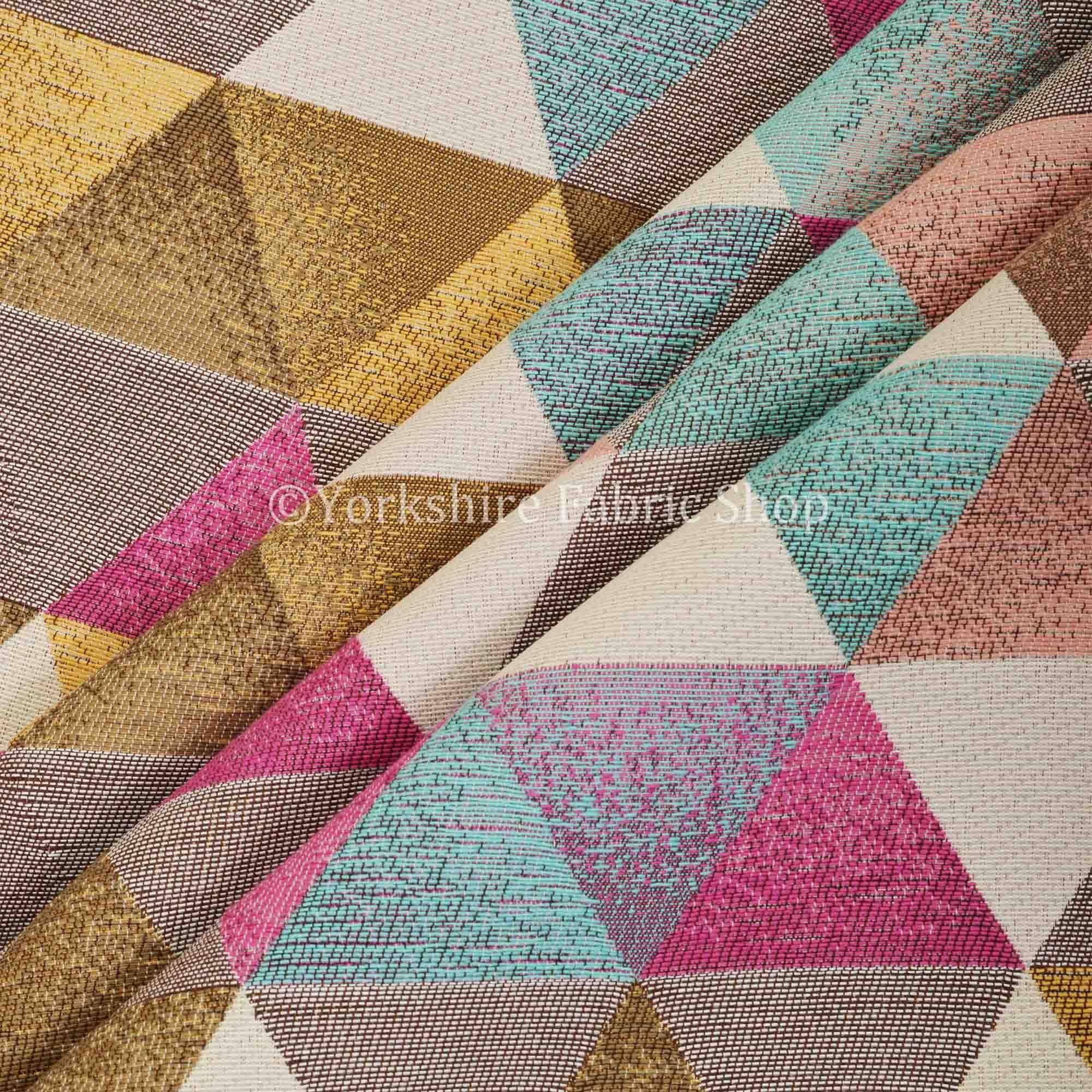 Soft Feel Geometric Diamond Pattern Teal Pink White Colour Chenille
