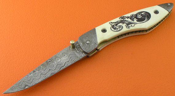 Laser Ink Imprint Camel Bone Handle Large Custom 100% Handmade & Forged Damascus Steel Liner Lock Hunting Folder Folding Knife FS248A-1
