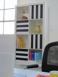 Great IKEA Kallax 2x4 Bookcase With PANYL Thick Stripes In Black. Home Design Ideas