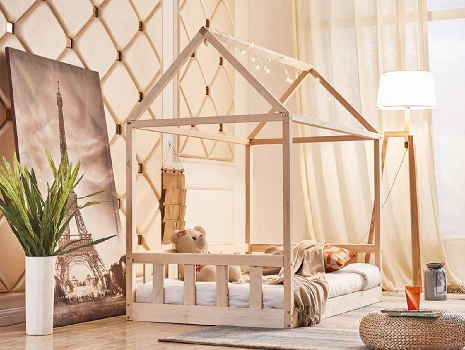 9 Farb Haus Bett Mit Sicherheitsbarrieren Montessori Bett Toddler Bett Hausbett Lit Montessori Lit Enfant Kinderbett Hausbett In 2020 House Beds Kid Beds Montessori Bed