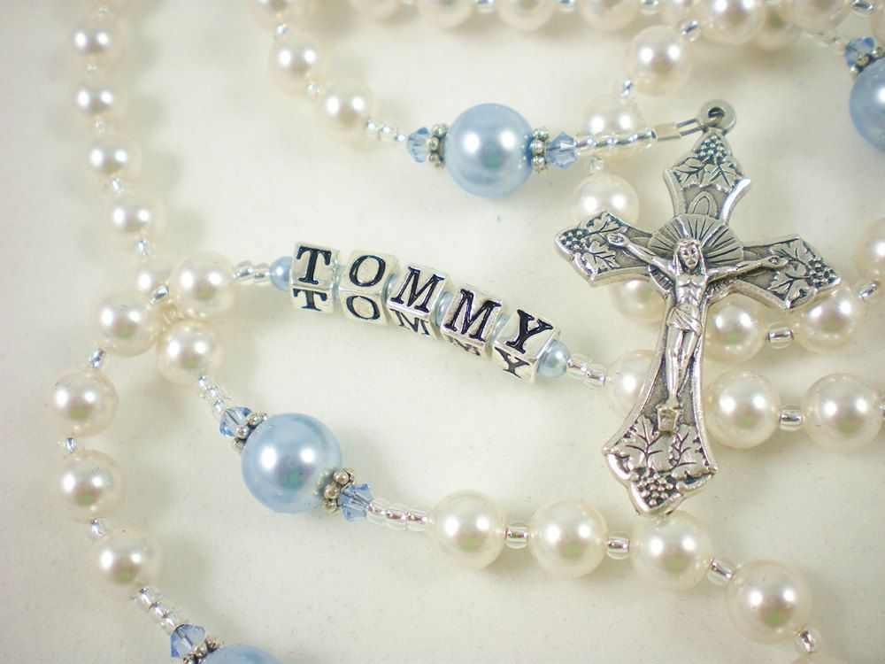 Baby Boy Baptism Personalized Rosary in White and Light ...
