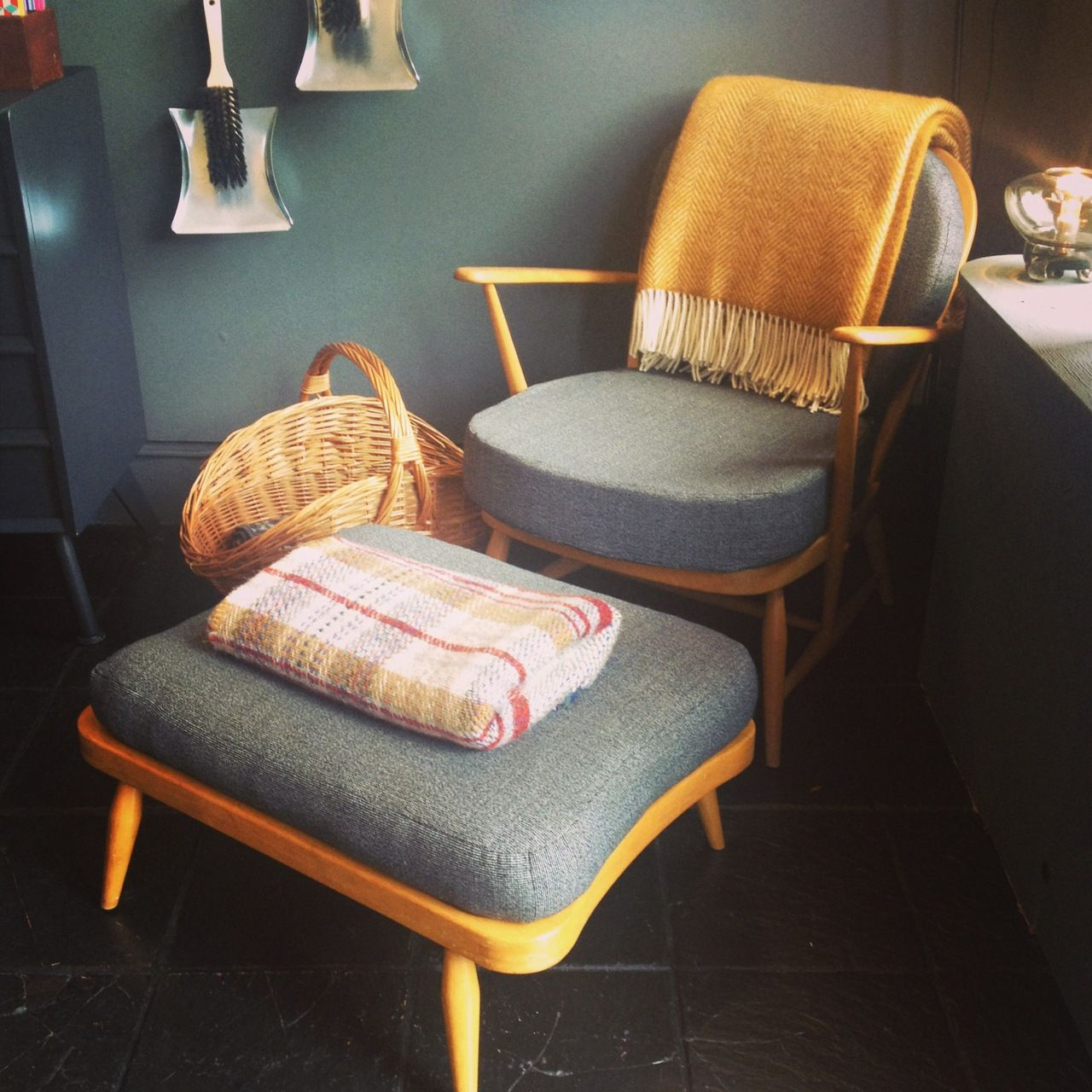 Reconditioned Vintage Ercol Chair And Footstool