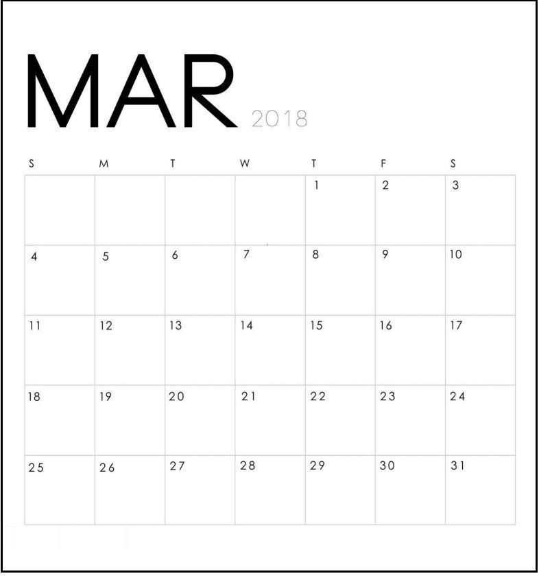 modern minimal march 2018 calendar