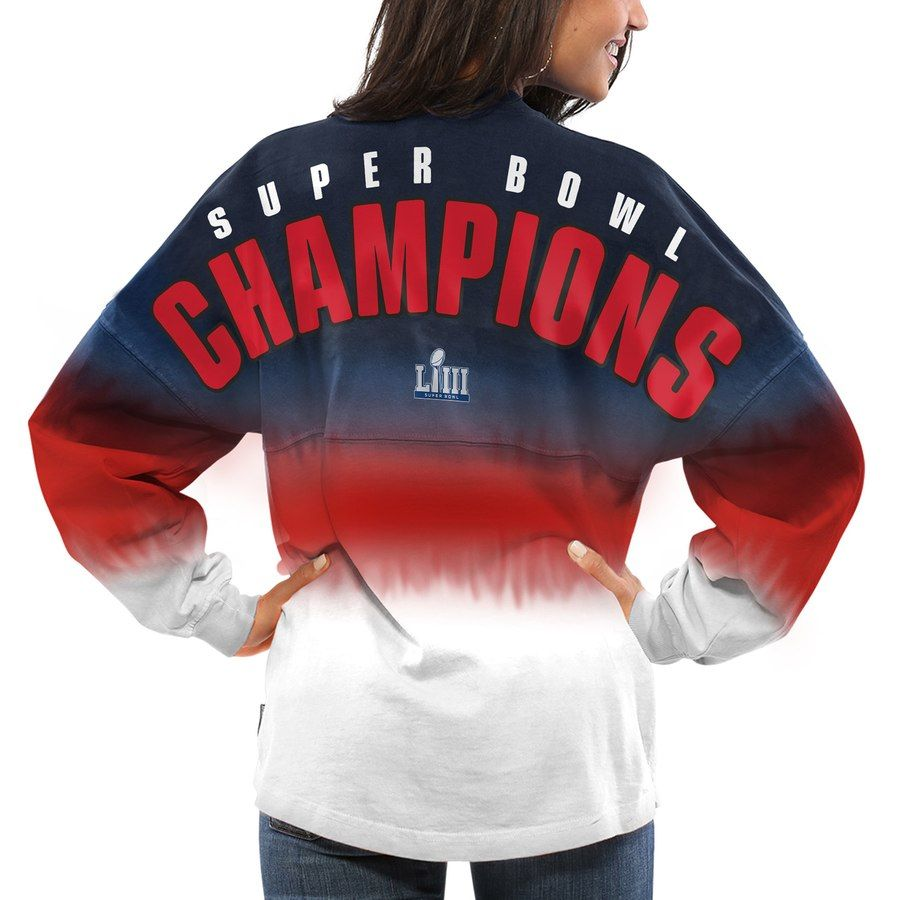 f3567b88f New England Patriots NFL Pro Line by Fanatics Branded Women s Super Bowl  LIII Champions Long Sleeve Spirit Jersey T-Shirt - Navy Red