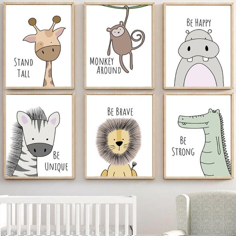 Nordic Style Painting Cartoon Animal Prints Canvas Home Decoration Wall Art Modular Pictures Watercolor Poster For Kids Room Kids Room Art Kids Room Art Diy Animal Wall Art Nursery