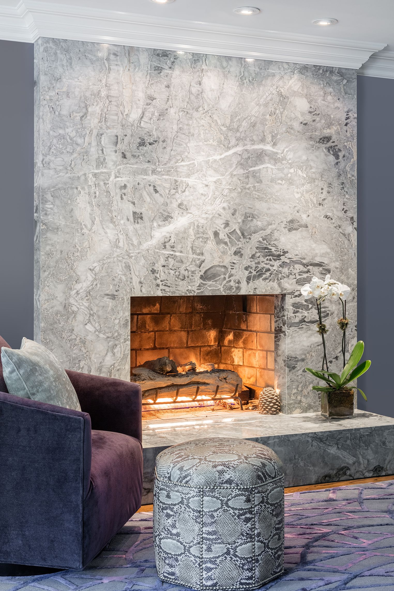 Artistic Tile Tuscan Superwhite Fireplace Contemporary