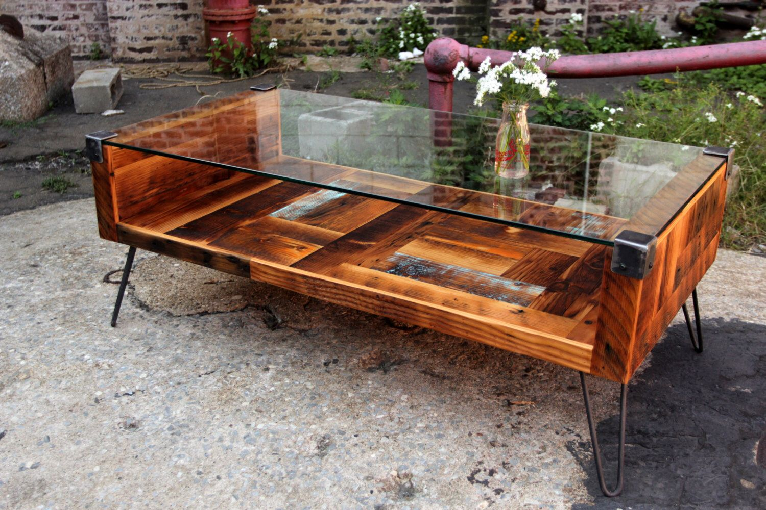 Reclaimed Wood And Tempered Glass Top Coffee Table By RecycledBrooklyn On  Etsy Https://