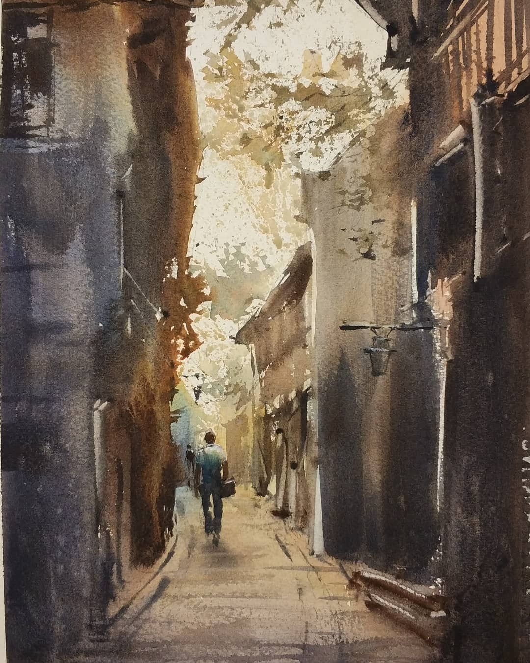 Pin By Bong Sy On Water Colour Cityscape Painting Landscape
