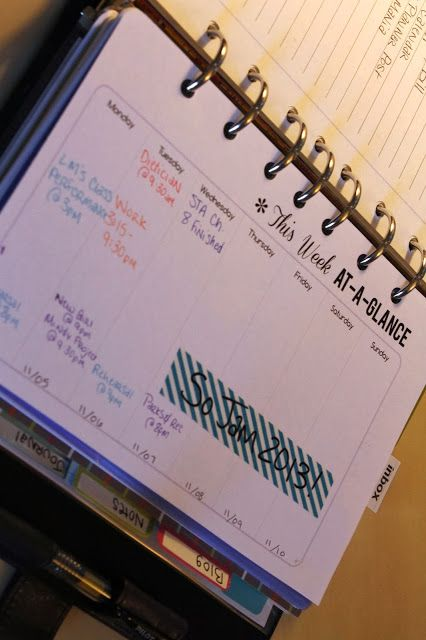 custom week at a glance printable in daytimer flavia for planner