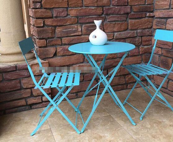 Hierro exterior muebles de jardín, 1 mesa redonda y 2 sillas / lot ...