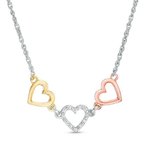Zales Diamond Accent Triple Heart Necklace in 10K White Gold