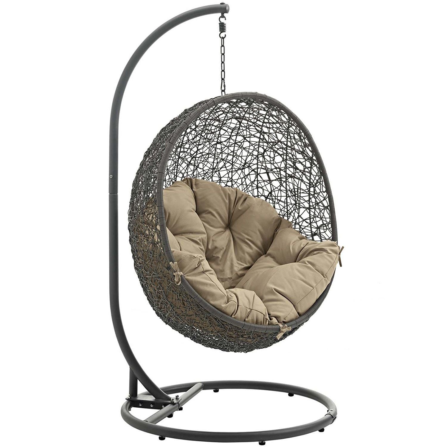 Modway hide outdoor patio swing chair gray mocha garden u outdoor