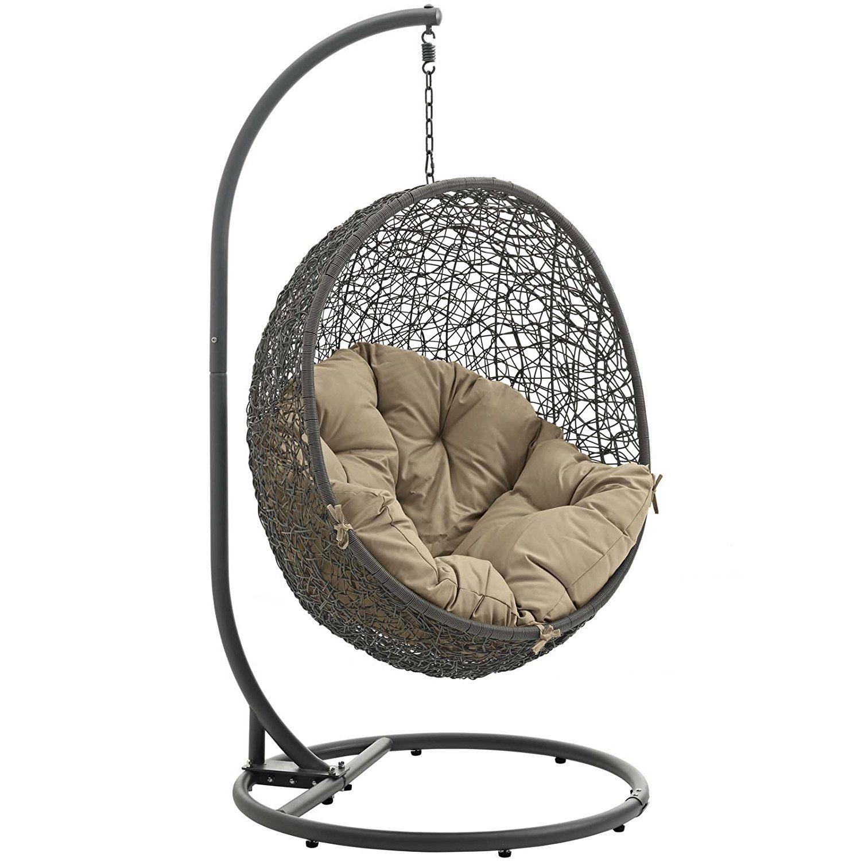 Modway hide outdoor patio swing chair gray mocha garden u outdoor