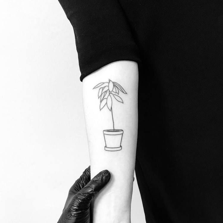 Minimalist Style Outline Flower In A Pot Tattoo On The Right Upper Arm Hand Poked Tattoo Tattoos Hipster Tattoo