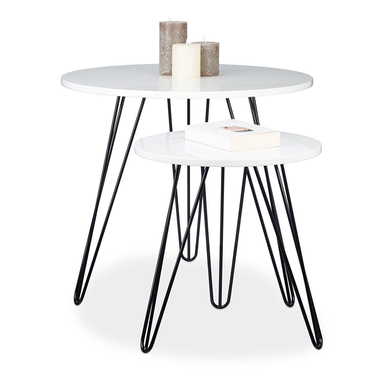 Relaxdays Beistelltisch Weiss 2er Set Rund Dreibeiner Holz Metall Hxd 52 X 60 Cm Sofatisch Wohnzimme Couchtisch Sets Couchtisch Marmor Wohnzimmertische