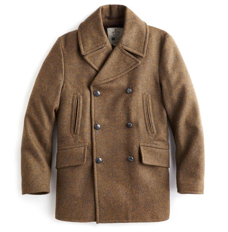 Private White V.C. - Manchester 100% Wool Pea Coat in brown ...