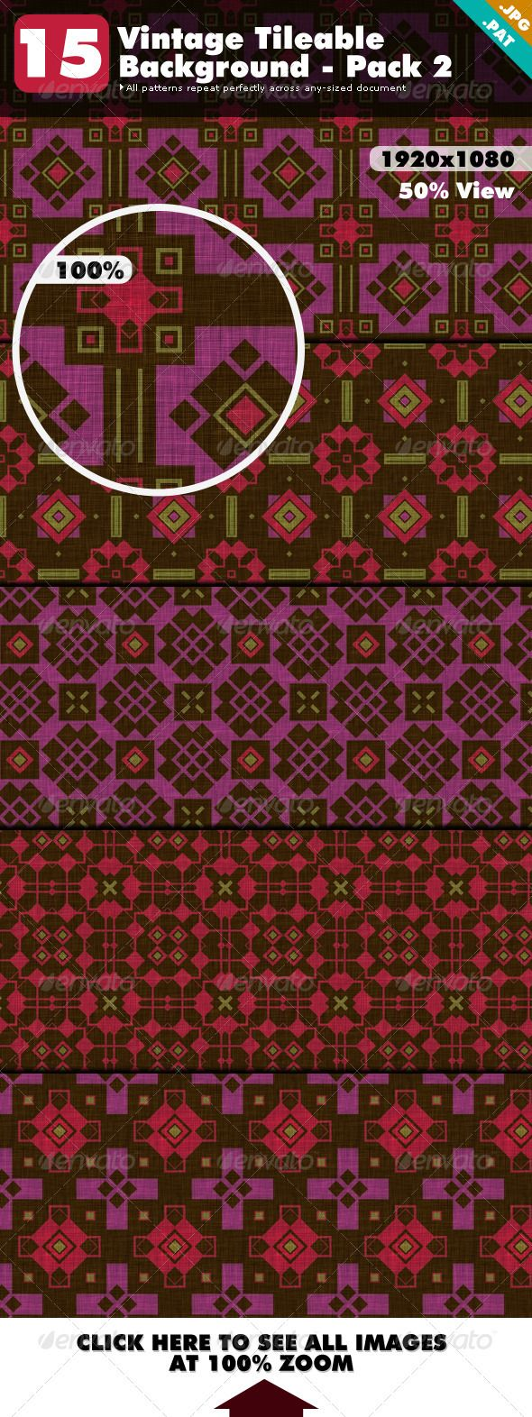 Vintage Tileable Background Pack 2  #GraphicRiver         A pattern is a style you can apply to content. It's usually a small image that can be tiled seamlessly to create a pattern.   This is a collection of 15 vintage style patterns.   Include 15 .jpg Seamless Patterns Perfect for Web Design.   Include 1 .pat Photoshop Pattern File which you can load into your Photoshop from the preset manager and use them as pattern fills.   How to install patterns in Photoshop See video tutorial…