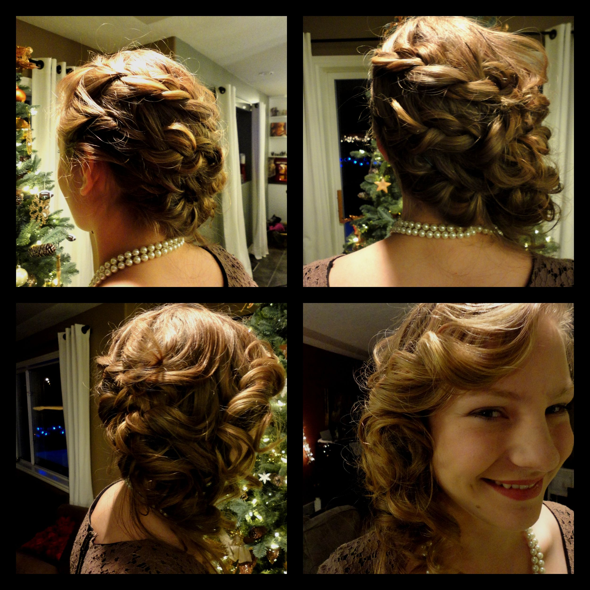 No howto link winter formal hair curled three braids from