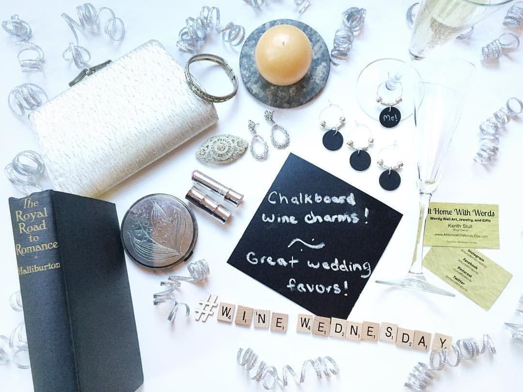 Book Themed Wedding Wine Charm Favors, Chalkboard Wine Charm Wedding ...