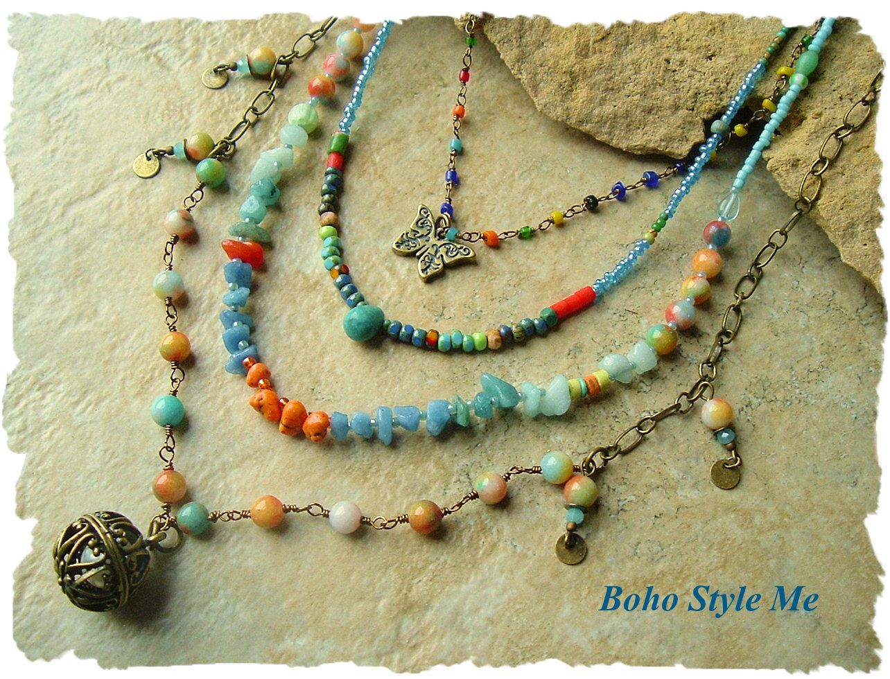 bohemian jewelry, colorful layered beaded necklace, modern hippie