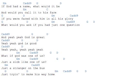 What If God Was One Of Us Em C G D In Verses And C G D In Chorus Noten
