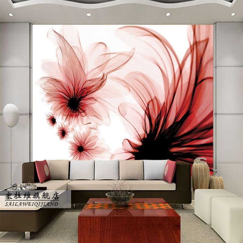 Large-living-room-bedroom-sofa-TV-wall-mural-paint… | Red & Burgundy ...