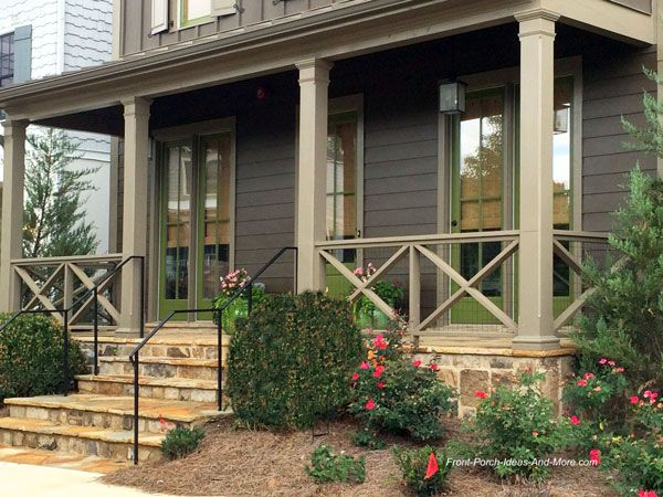 Front porch railing ideas materials and more porch for Front porch construction
