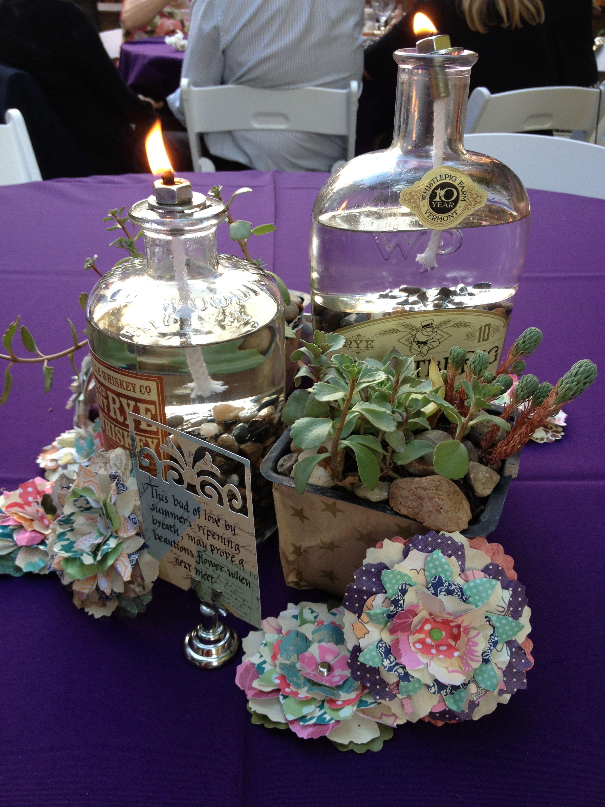 Oil Lamps Succulents Paper Flower Centerpieces Diy Wedding