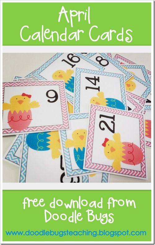 Free April Calendar Cards Very Cute With Images Preschool