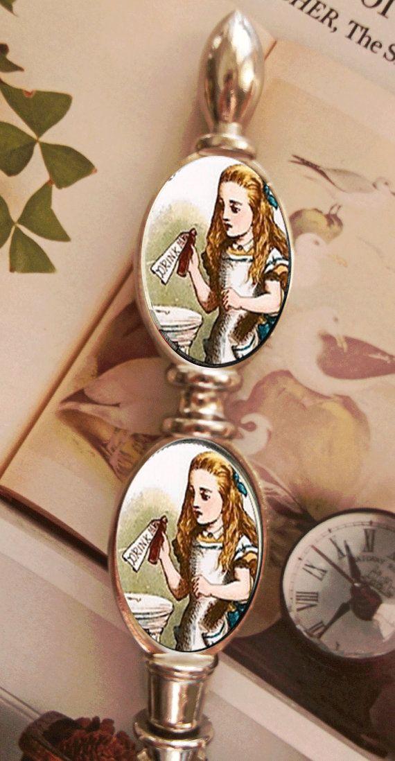 Alice In Wonderland Drink Me Silver Metal by goddessglass10359