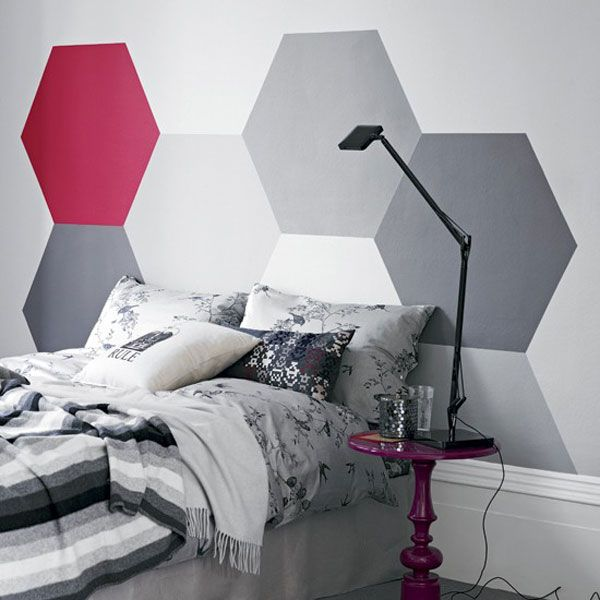 35 Cool Headboard Ideas To Improve Your Bedroom Design - I don't necessarily like this pattern, but I like the idea of painting a headboard onto the wall
