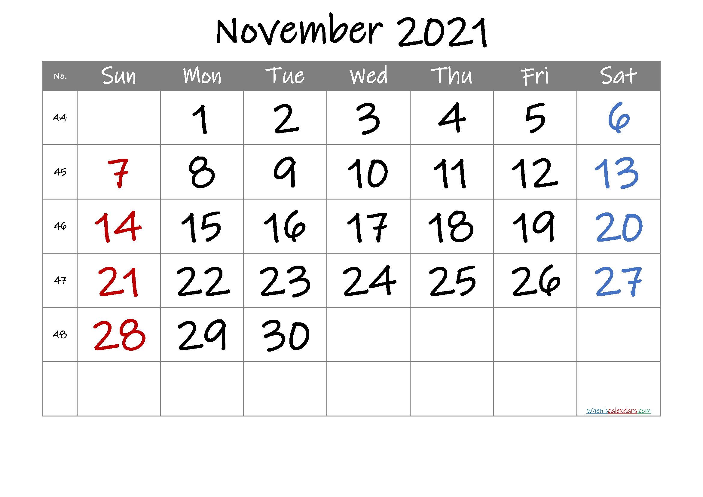 2021 November Free Printable Calendar Free Premium In 2020 Printable Calendar Template Calendar Printables 2021 Calendar