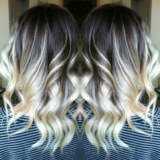 Dark root balayage on Blonde hair