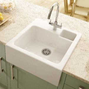 Wickes Butler 1 Bowl Kitchen Sink Ceramic White Wickes Co Uk White Ceramic Kitchen Sink Butler Sink Ceramic Kitchen Sinks