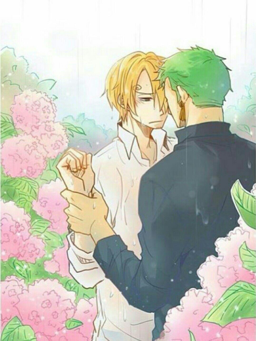 Zoro, Sanji, yaoi, raining, flowers