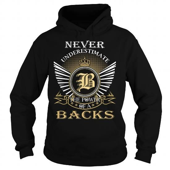Never Underestimate The Power of a BACKS - Last Name, Surname T-Shirt T-Shirts, Hoodies (39.99$ ===► CLICK BUY THIS SHIRT NOW!)