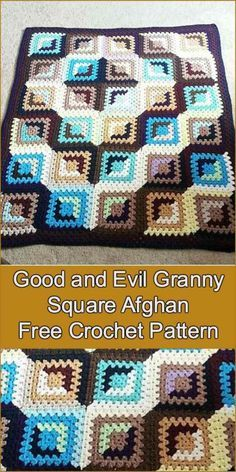 Good And Evil Granny Square Afghan Free Crochet Pattern Kids N