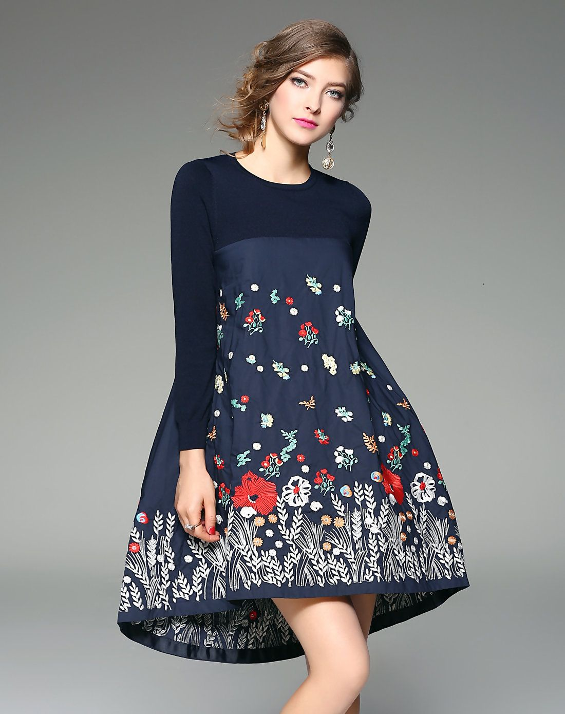 2ca47e347489  AdoreWe  VIPme Skater Dresses - ZERACO Blue Floral Embroidery Asymmetric  Hem Mini Dress -