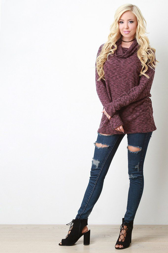 Cowl Neck Boxy Knit Sweater | Tops Collection 2 | Pinterest | Cowl ...