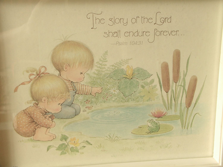 twins nursery | nursery decor, Precious Moments print, psalm 104 ...